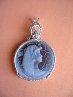 Jewelery Egyptian Goddess Isis Cameo Pendant  in Argentium sterling silver