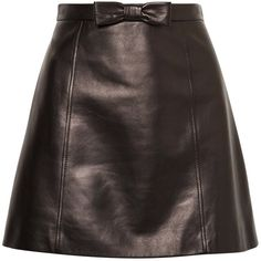 Miu Miu Bow-embellished leather mini skirt (5.015 RON) ❤ liked on Polyvore featuring skirts, mini skirts, bottoms, black, polleras, bow skirt, short a line skirt, short skirt, high-waisted skirt and leather mini skirts