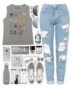 """Marvel Studios"" by ladyvalkyrie ❤ liked on Polyvore featuring Stelton, Topshop, Marvel, New Balance, Boohoo, Butter London, S'well, R+Co, Birchrose + Co. and Happy Plugs"
