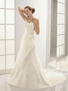 A-line Sweetheart Chiffon Satin Court Train Embroidery Wedding Dresses
