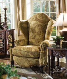 A Chair Exuding Elegance The Es Manor High Back Wing Comes Upholstered In Dining Room Furniturefurniture