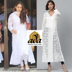 Promising #bollywood star Sara Ali Khan is ready to make heads turn in a lovely comfy all-white #ChikankariOutfit and super cute colorful juttis and a handbag to add a pop of color to her day! #Adachikankari #Ada #Adachikan #chikankari #handcrafted #handembroidered #angarkhakurti #georgettekurti #chikanwork #chikanembroidery #Bakhiya #Phanda #Keelkangan #white #chikanstitches #needlecraft #traditionalcraft #traditionalart #saraalikhan #actress #indian