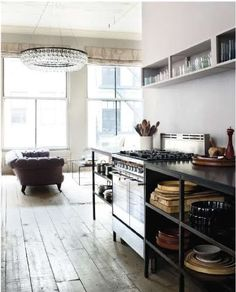 love a kitchen that doesn't look like a kitchen...