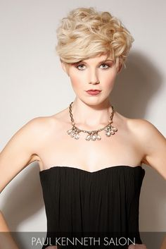 This polished short cut and champagne-blonde hue easily achieves an urban edginess that makes a very sexy style statement.