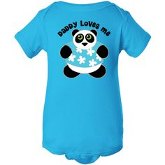 Cute Panda bear with Daddy Loves Me quote for children on a Infant Creeper. $16.99 www.personalizedfamilytshirts.com