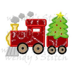 Christmas tree train applique machine embroidery by WendysStitch