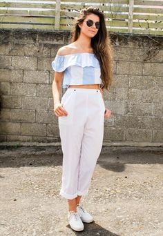9312be98270 Vintage White High Waist Trousers Thrift Fashion, Trousers Women, High  Waist, Two Pieces
