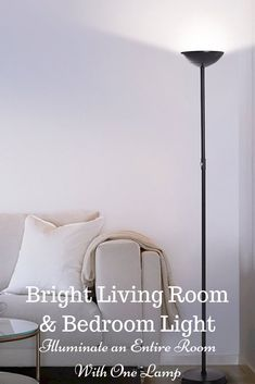 This light blazes bright enough to be the only lighting source needed in your bedrooms, family room, living room, craft room, hobby room, or office without an overhead ceiling light. Capable of both mood and task lighting, Brightech's SKYLITE LED Torchiere Floor Lamp solves your home or office needs brightly and efficiently. #livingroomlamp #floorlampideas #livingroomdecor #livingroomlightideas #livingroomfloorlampideas #bestfloorlamps #ledlamp #ledlighting Corner Floor Lamp, Diy Floor Lamp, Tall Floor Lamps, Unique Floor Lamps, Bedroom Lamps, Bedroom Lighting, Bright Floor Lamp, Farmhouse Floor Lamps