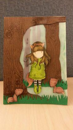 Gorjuss Girl stamp: The Fox