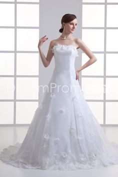 Wedding Dresses A-Line Strapless Sleeveless Natural Lace-up Sweep/Brush TRAIN Tulle Sequins/Beading/Appliques