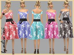 Off The Shoulder Floral Dress by melisa inci at TSR via Sims 4 Updates