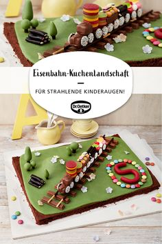 Eisenbahn-Kuchenlandschaft Railroad cake scenery: chocolate cake from the tin with marzipan landscape Easy Smoothie Recipes, Easy Smoothies, Marzipan, Cake Recipes, Snack Recipes, Cooking Recipes, Coconut Smoothie, Cake Games, Pumpkin Spice Cupcakes