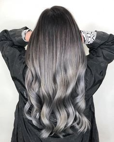 Silver is tricky to achieve, especially if you have a dark starting hair color. spent almost seven hours transforming this virgin black hair to ash grey. The good news is after hair is lightened, oVertone helps apply AND maintain initia Ombre Hair Color, Hair Color Balayage, Cool Hair Color, Brown Hair Colors, Hair Highlights, Haircolor, White Highlights, Black Women Hairstyles, Straight Hairstyles