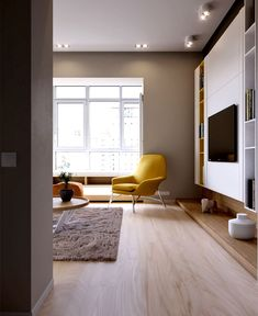 Apartment in Kiew von ukrainischen Studio Ruslan Kovalchuk Flur Design, Hall Design, Style At Home, Home Interior Design, Interior Architecture, Tv Decor, Home Decor, Sofa Colors, Living Room Tv