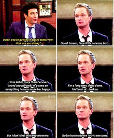 Barney and Robin are perfect together. Tv Show Quotes, Movie Quotes, Barney And Robin, Marshall And Lily, How Met Your Mother, Best Sitcoms Ever, Will And Grace, Perfect Together, Himym