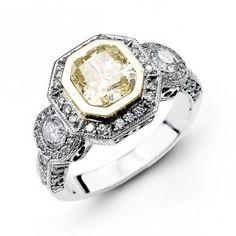 14K White Gold Halo Style Diamond Engagement Ring 0.77 ct