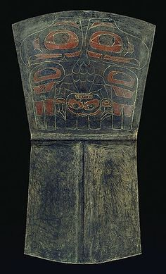 A large copper decorated with a double-headed Eagle. The double-headed Eagle is not a traditional Haida crest but was adopted from the Imperial Russian form of this bird introduced by Russian fur traders in Alaska. Collected from Skedans before 1900 by Charles F. Newcombe. CMC VII-B-665 (S92-4244)