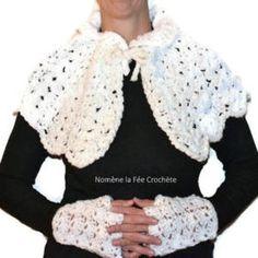 Ensemble petite cape blanche et mitaines, chauffe-épaules fait main, au  crochet, 769d4ec125f