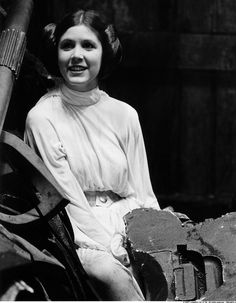 Behind the scenes...Carrie Fisher as Princess Leia in EPISODE IV - A NEW HOPE (1977)