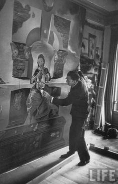 """Salvador Dali in his artist studio with the second version of his painting """"The Madonna of Port Lligat"""" painted in Vintage photo by Gisele Freund partially colorized by John Winner. Matisse, Famous Artists, Great Artists, Monet, Salvador Dali Paintings, Painters Studio, Eugenia Loli, Spanish Artists, Spanish Painters"""