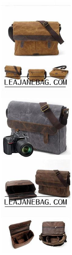 Handmade Canvas Camera Bag, Tan Brown Metal Closure Distressed, Canvas Camera Bag MC006