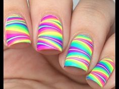 Browse & see more Water marble nail art designs 2016 Cute Nail Art, Cute Nails, Pretty Nails, Pretty Nail Designs, Toe Nail Designs, Striped Nail Designs, Rainbow Nails, Neon Nails, Tribal Nails