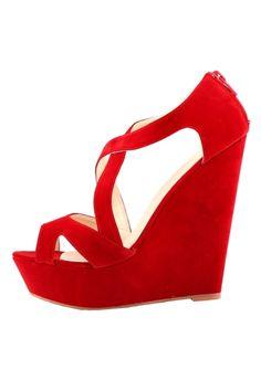 Exclusive Solid Strappy Platform Peep Toe Wedge High Heels - AZBRO.com