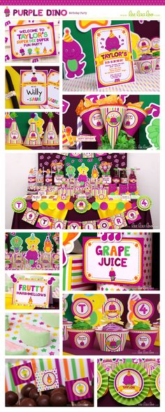 ••• Purple Dino Birthday Party Theme •••  Shop Them Here:  https://www.etsy.com/shop/LeeLaaLoo/search?search_query=b67order=date_descview_type=galleryref=shop_search  ♥♥♥ Vendor Credits:  ♥ Party Styling: LeeLaaLoo - www.leelaaloo.com  ♥ Party Printable Design  Decoration: LeeLaaLoo - www.etsy.com/shop/leelaaloo  Our YouTube channel for some DIY tutorials here: http://www.youtube.com/leelaaloopartyideas