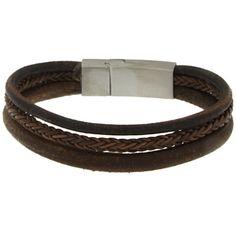 Brace heren armband Leer met RVS BR229005 - Leren armbanden - Armbanden - Heren sieraden » Lookinggoodtoday.com
