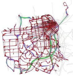 A Day of Muni, according to NextBus by Eric Fischer    Black is less than 7mph. Red is less than 19mph. Blue is less than 43mph. Green is above that.     April 13, 2010