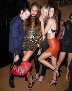 Peter Brant Jr., Joan Smalls, Lily Donaldson, and Kendall Jenner at Yahoo Style's Met Gala After Party. See all the outfits at the Met gala after parties.