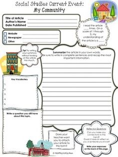 Current Events Worksheet Teaching Resources | Teachers Pay Teachers
