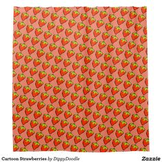 Cartoon Strawberries Shower Curtain