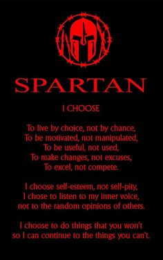 """Spartan Code Affirmations- I Choose.""- Motivational Quotes Wall x Print Wall Decor-Ready to Frame. Black & Red Gloss- Warrior Print for Home-Gym-Office Decor. Choose To Win. Great Quotes, Quotes To Live By, Me Quotes, Motivational Quotes, Inspirational Quotes, Quotes Positive, Positive Thoughts, Life Thoughts, Path Quotes"