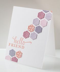 handmade card ... clean and simple ... diagonal band of stamped and die cut hexagons popped from card base ... like how the sentiment is large and breaks the diagonal line ... Paper Trey Ink ...