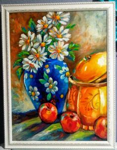 Original oil painting framed flowers in blue vase, yellow jar by YvetteAndinoArt on Etsy Rooster Painting, African Girl, Flower Frame, Artsy Fartsy, Art For Sale, White Flowers, Paint Colors, Yellow