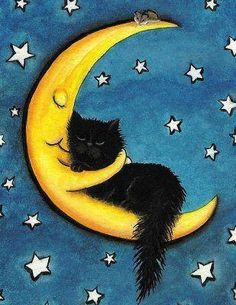 Sweetest of Dreams Moon Hugging Black Cat- Fine Art Print by AmyLyn Bihrle adorables funny graciosos hermosos salvajes tatuajes animales