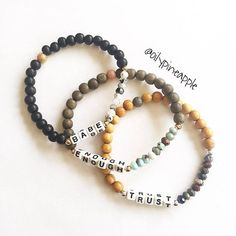 """MADE OF: CUSTOM ~ Tiny Square """"4-Sided"""" Letter Beads + Wood (6mm) + 9 Natural Stone Beads + 3 Gold-Filled/Sterling Silver Metal Ball Beads + 1 Stardust bead >> NATURAL STONE: Choose from the Drop Down Options • TRUST Bracelet ~ Sapphire • ENOUGH Bracelet ~ Amazonite • BABE Bracelet"""