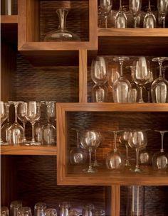 Wonderful Contemporary Kitchen Design Interior with Wooden Wine Glass Rack Furniture and Unique Decoration Ideas Wine Glass Shelf, Wine Glass Storage, Glass Shelves In Bathroom, Wine Glass Rack, Kitchen Shelves, Glass Bar, Cube Shelves, Bathroom Windows, Attic Bathroom