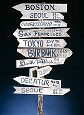 Declaring the distances to such places as Boston, San Francisco, and Toledo, this sign post graced the set of M*A*S*H during the show's run. Set in Korea during the 1950s, the show revolved around the work and antics of the staff of a Mobile Army Surgical Hospital (MASH). Its final episode on February 28, 1983, was the most–watched television program of all time.