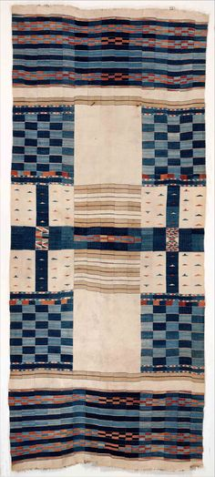 Interior Hanging Date: century Geography: Mali or Ghana, Niger River Culture: Fulani peoples (?) Medium: Cotton, wool, natural dye Dimensions: H. 51 x W. 120 in. x cm) Classification: Textiles-Woven Motifs Textiles, Textile Fabrics, Textile Patterns, Textile Prints, Textile Design, Textile Art, Vintage Textiles, African Textiles, African Fabric