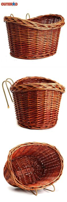 [Visit to Buy] OUTERDO Classic Style Rustic Basket Willow Straps Bike Cycling Bicycle natural Classic Durable Strong Wicker Manual Basket #Advertisement