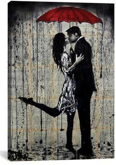 Icanvas 'Rainy Hearts' Giclee Print Canvas Art