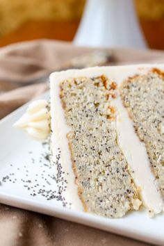 Spiced Poppyseed Cake with Almond Buttercream Frosting Recipe