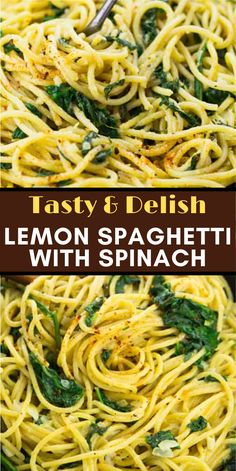 These lemon spaghetti with spinach are the perfect recipe for busy weeknights! It's a one pot meal super delicious comforting and 100 % vegan! Easy Chicken Recipes, Easy Healthy Recipes, Easy Dinner Recipes, Easy Meals, Dinner Ideas, Healthy Food, Spaghetti With Spinach, Lemon Spaghetti, Vegan Vegetarian