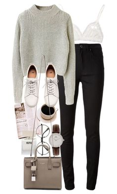 """""""Untitled #8711"""" by nikka-phillips ❤ liked on Polyvore featuring Hanky Panky, Acne Studios, H&M, Bella Freud and Yves Saint Laurent"""
