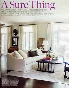 New Orleans Home . Designer Tommy Clements. Paint Benjamin Moore Manchester Tan. Rug vintage Turkish Kilim. Curtains are Ralph Lauren Home Linen. Wingchair is a Victoria Hagan Design. Sofa is a Great Plains fabric.