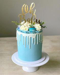 Baby Shower Drip Cake, Idee Baby Shower, Baby Shower Cakes For Boys, Beautiful Cakes, Amazing Cakes, Blue Drip Cake, Cake Story, Elegant Birthday Cakes, Blue Cakes