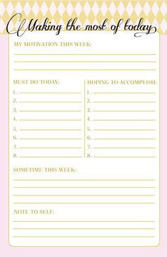 Denní plánování - 9 plánovačů ke stažení To Do Planner, Planner Pages, Life Planner, Happy Planner, Planner Ideas, Weekly Planner, Daily Routine Planner, Weekly Goals, Daily Goals