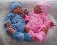 Baby Knitting Pattern Boys or Reborn Dolls  Sweater Set
